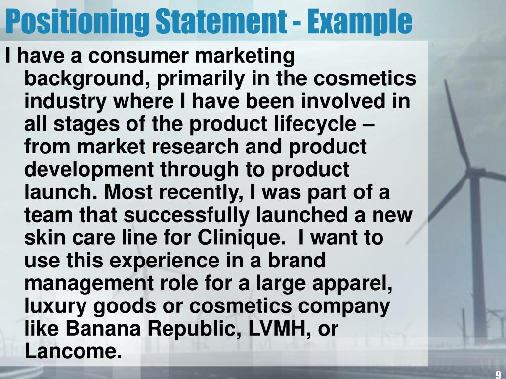 Positioning Statement - Example