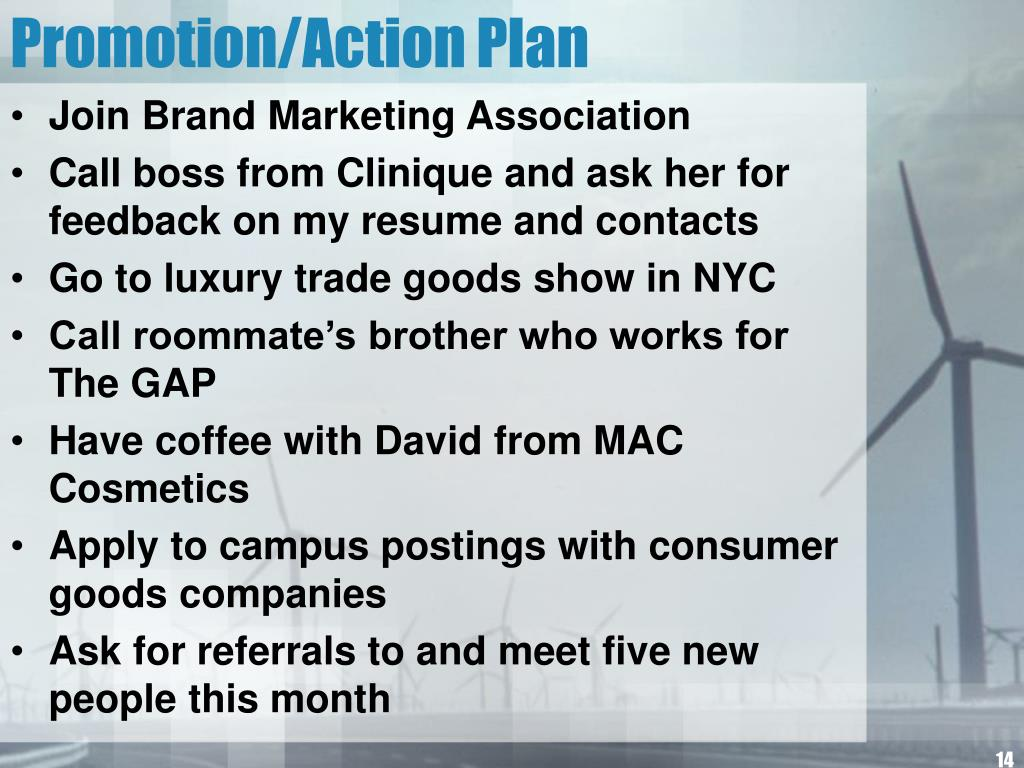 Promotion/Action Plan