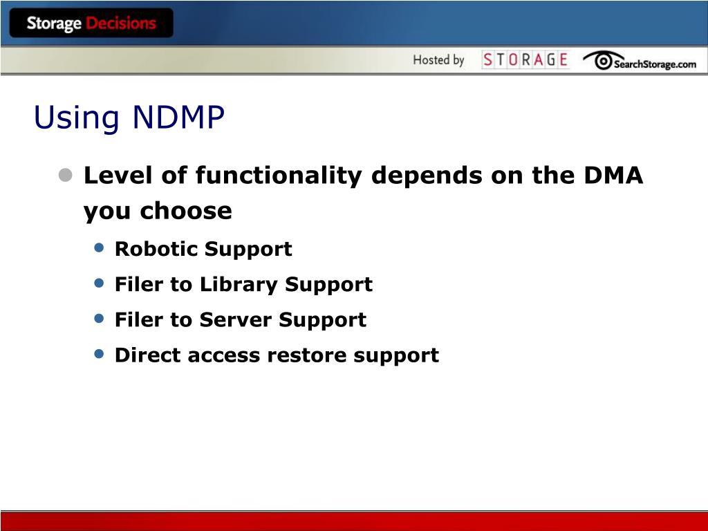 Using NDMP