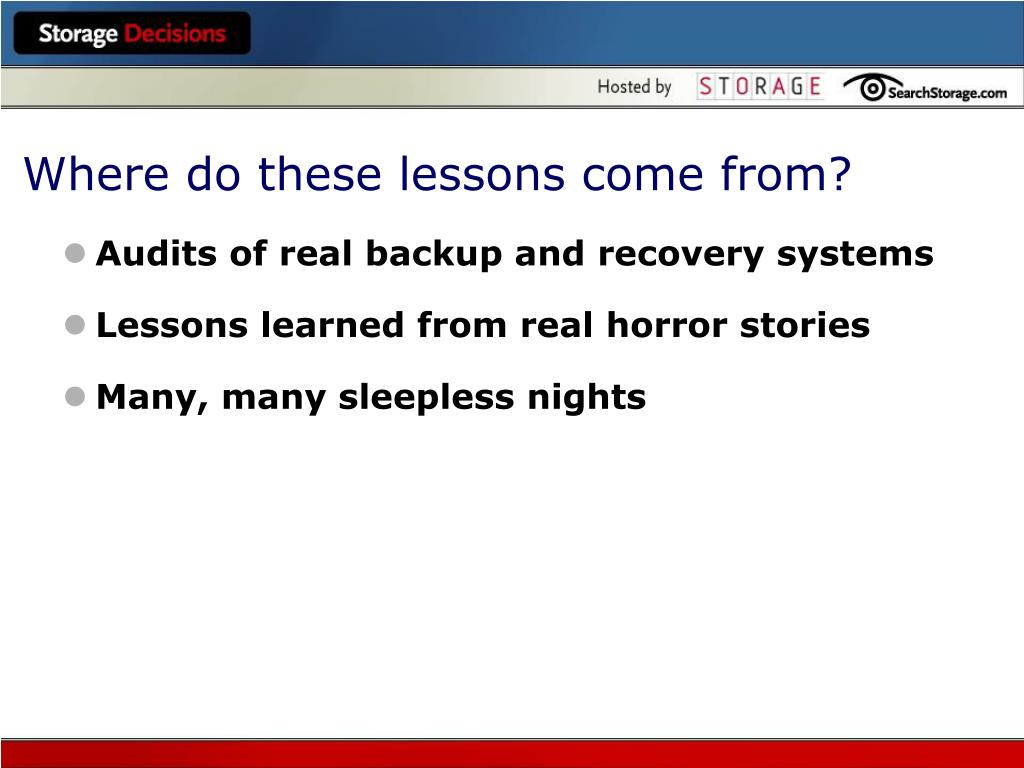Where do these lessons come from?