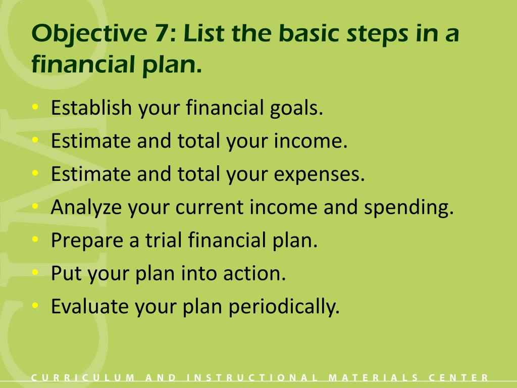 Objective 7: List the basic steps in a financial plan.