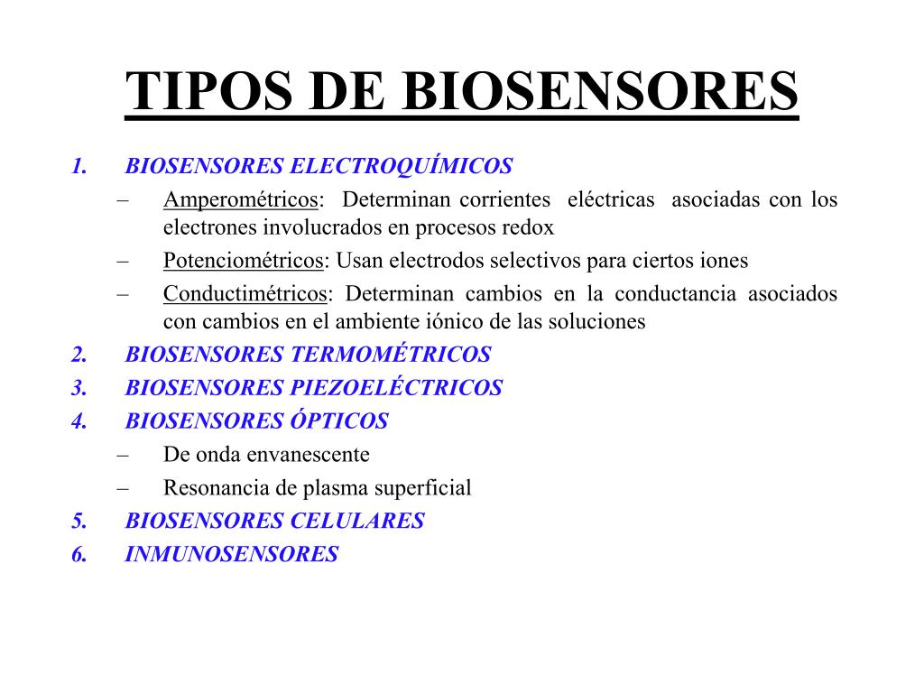 TIPOS DE BIOSENSORES