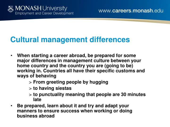 Cultural management differences