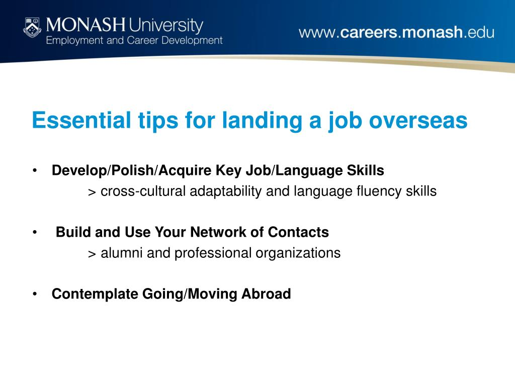 Essential tips for landing a job overseas