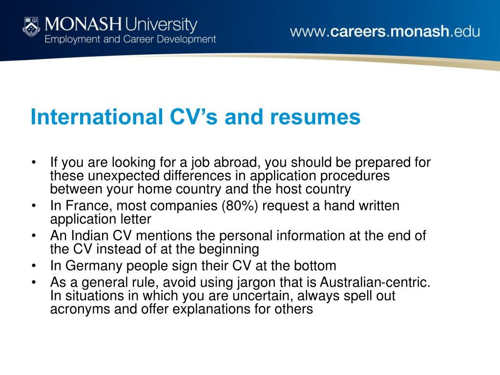International CV's and resumes