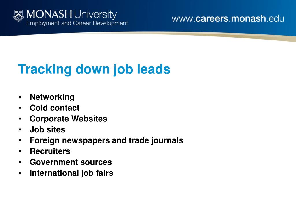Tracking down job leads