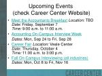 upcoming events check career center website