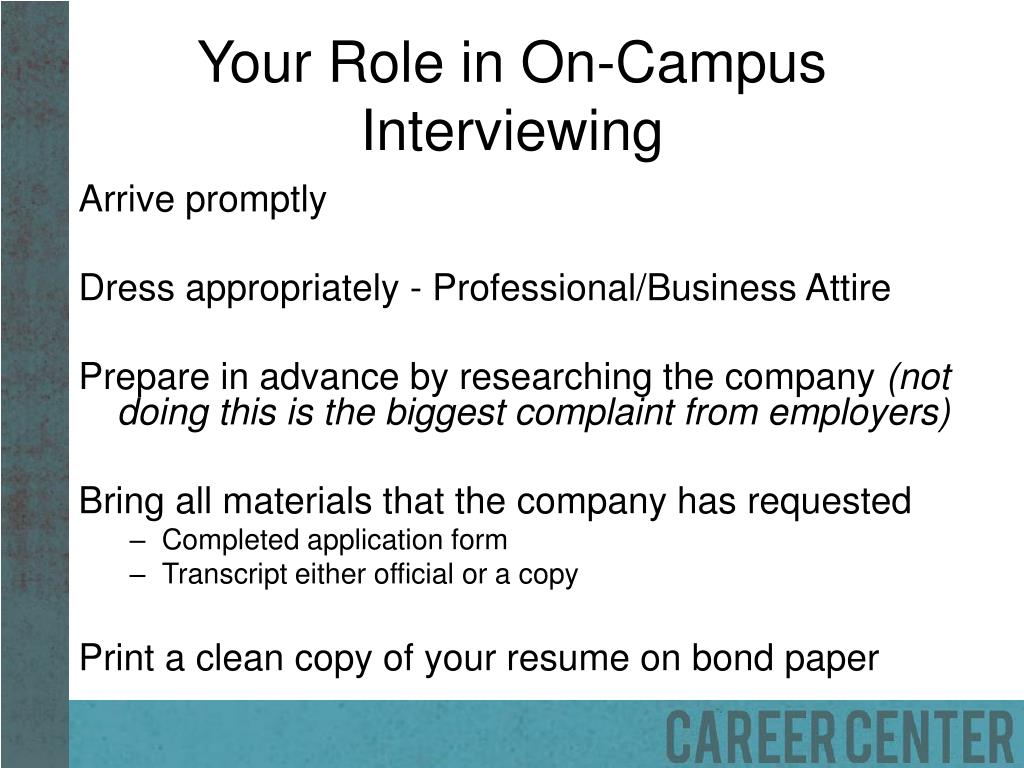 Your Role in On-Campus Interviewing
