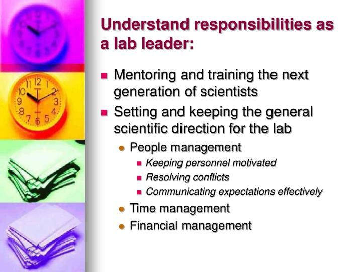 Understand responsibilities as a lab leader
