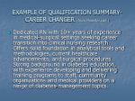 example of qualification summary career changer from monster com