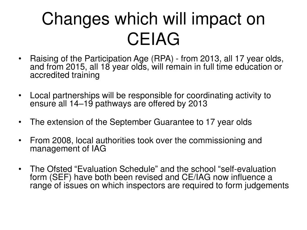 Changes which will impact on CEIAG