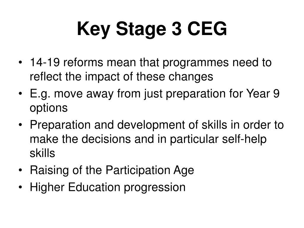 Key Stage 3 CEG