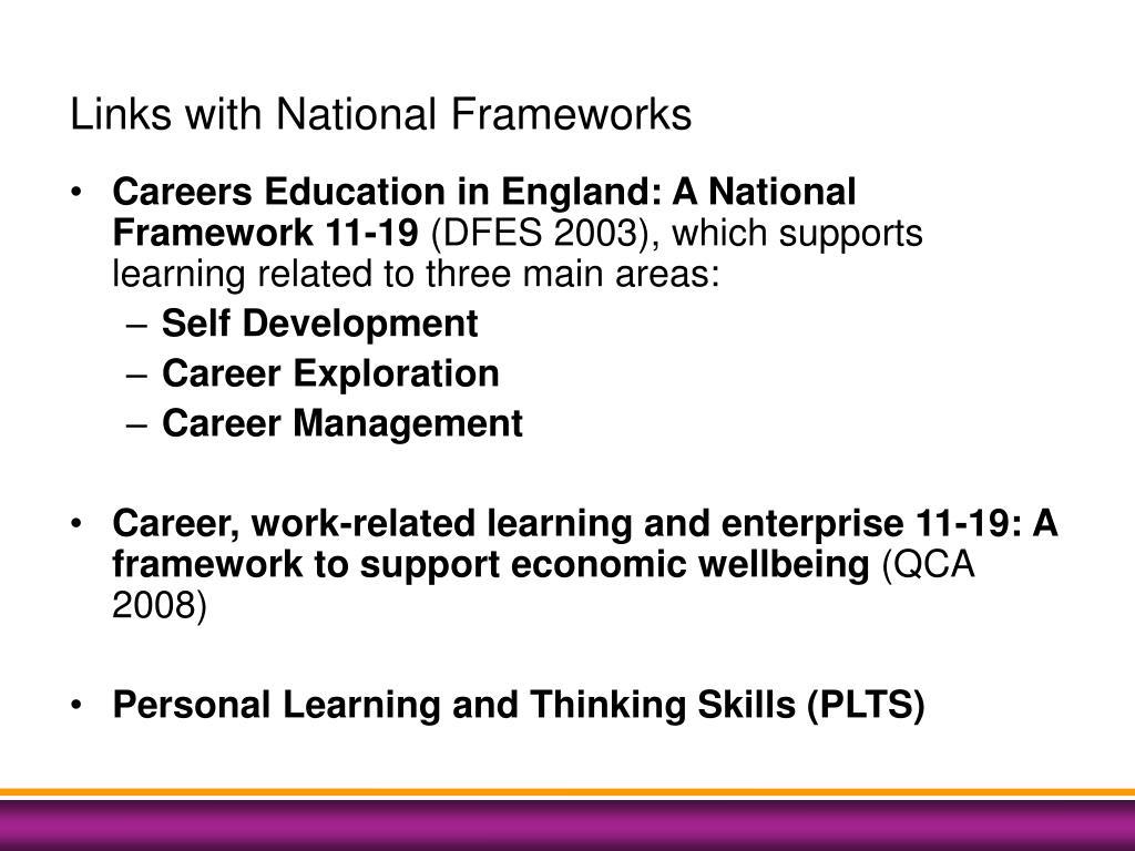 Links with National Frameworks