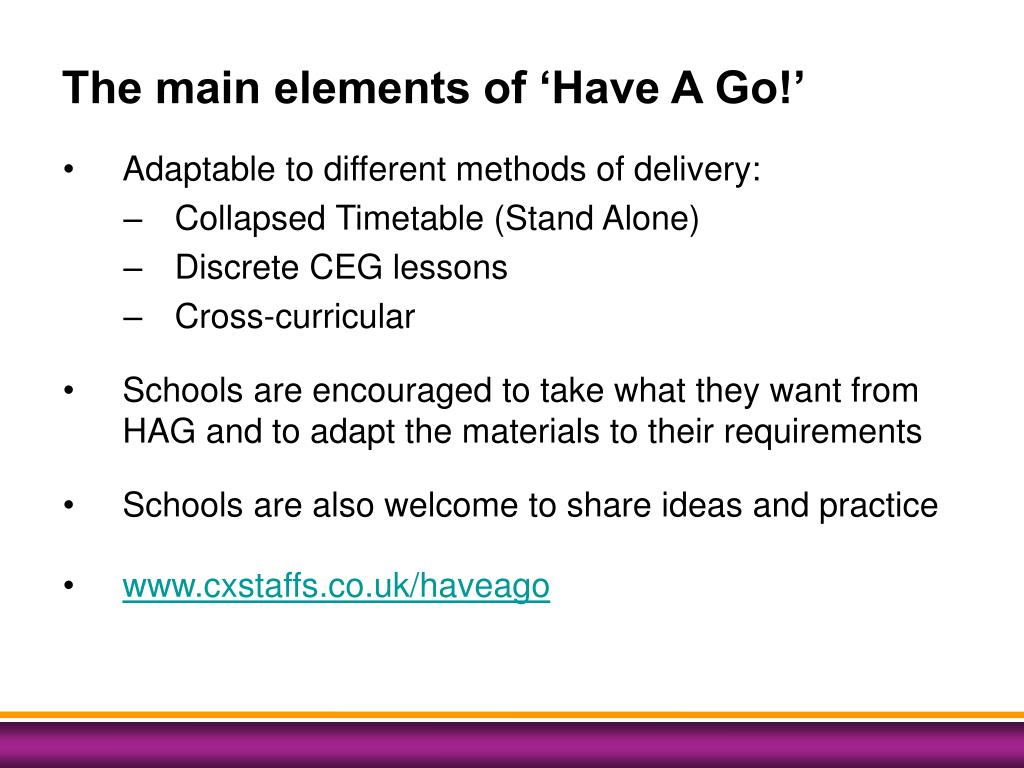 The main elements of 'Have A Go!'