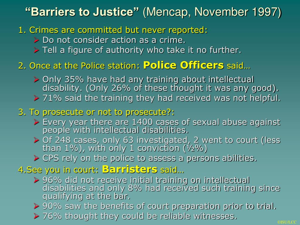 """Barriers to Justice"""