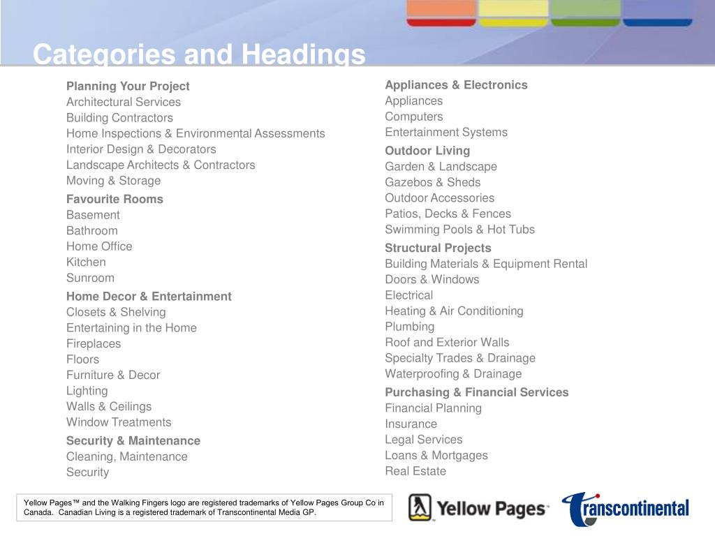 Categories and Headings