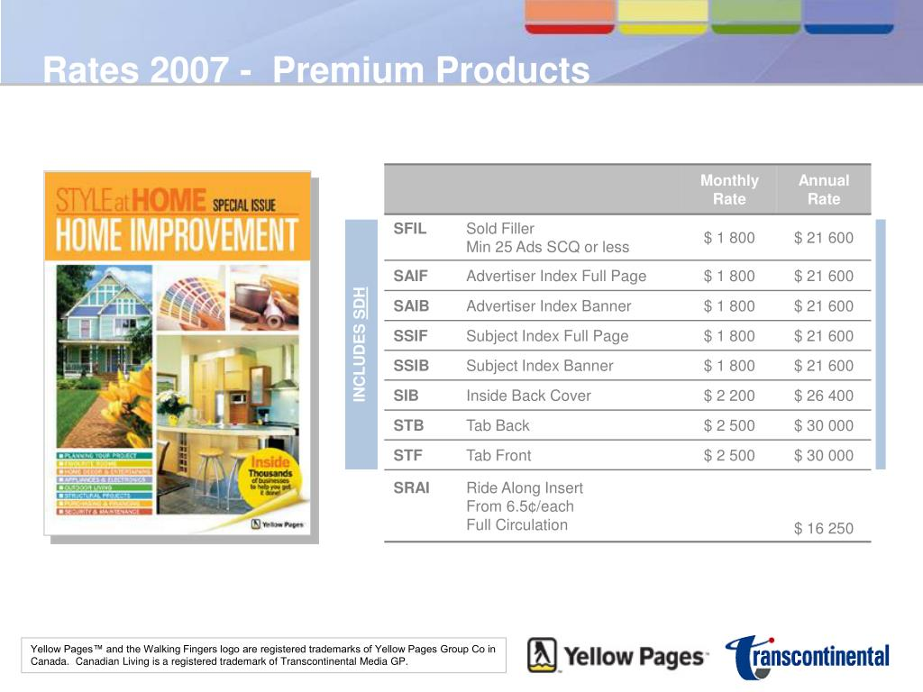 Rates 2007 -  Premium Products