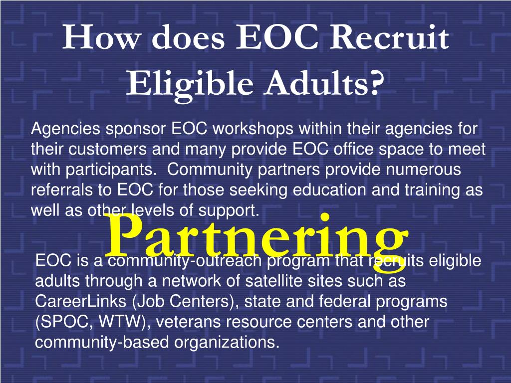 How does EOC Recruit Eligible Adults?