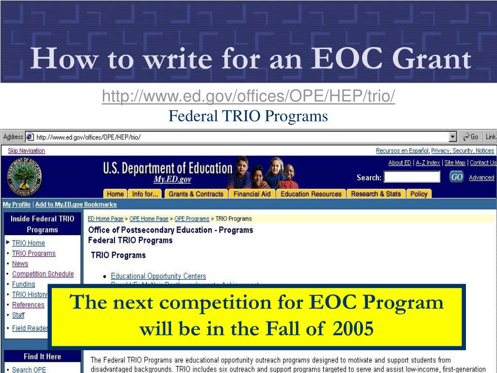 How to write for an EOC Grant