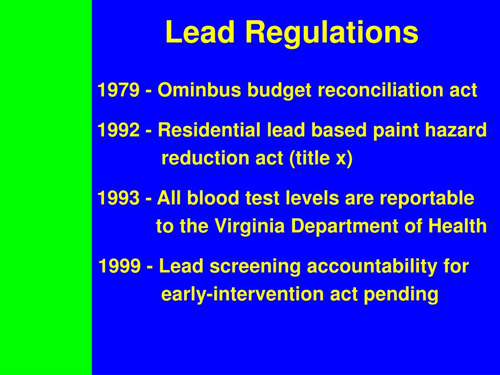 Lead Regulations