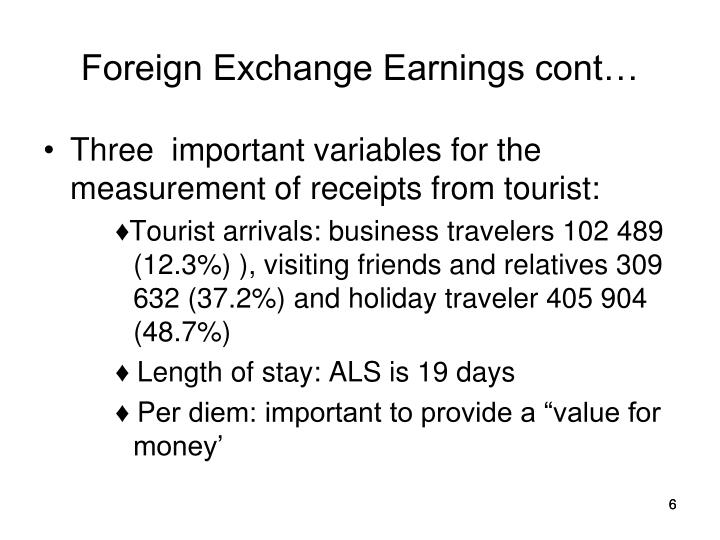 Foreign Exchange Earnings cont…