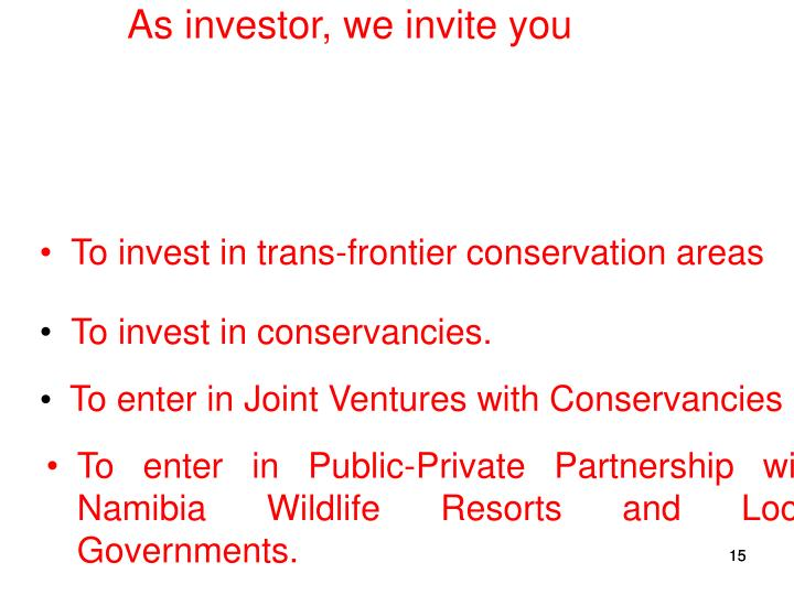As investor, we invite you