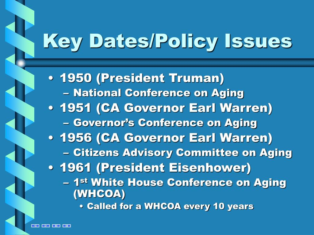 Key Dates/Policy Issues