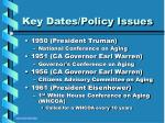 key dates policy issues