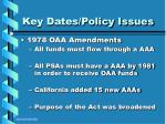 key dates policy issues10
