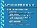 key dates policy issues19