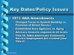 key dates policy issues7