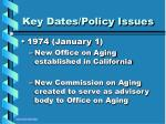 key dates policy issues8
