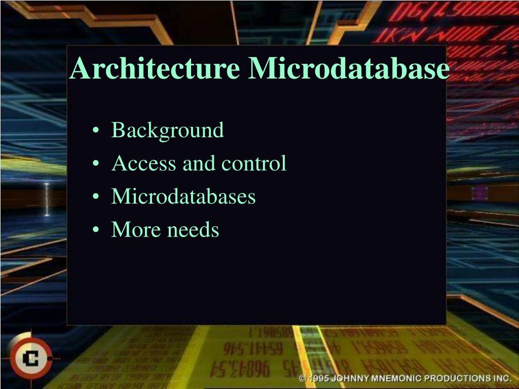 Architecture Microdatabase