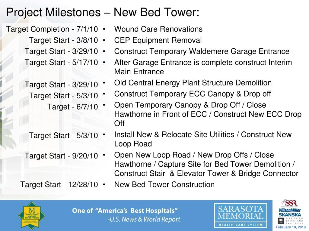 Project Milestones – New Bed Tower: