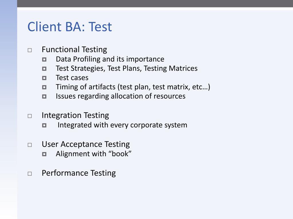 Client BA: Test