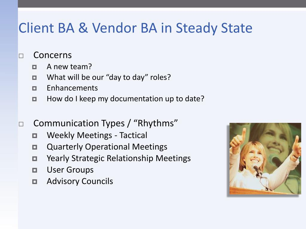Client BA & Vendor BA in Steady State