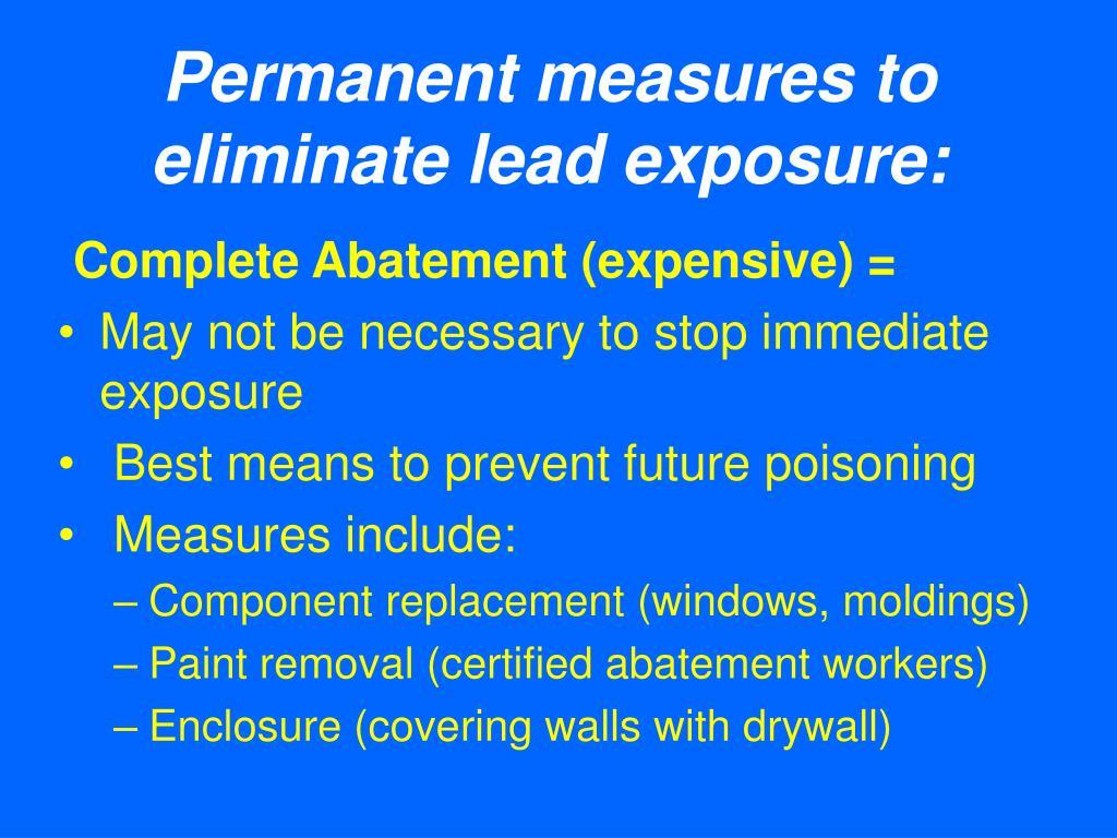 Permanent measures to eliminate lead exposure: