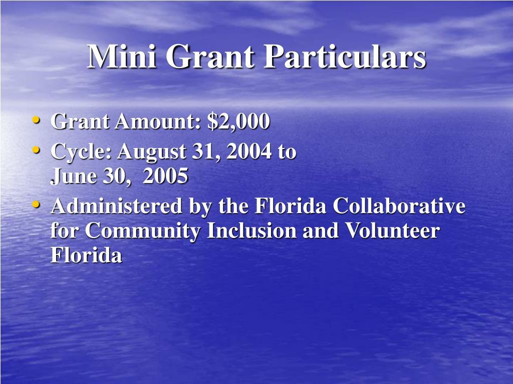 Mini Grant Particulars