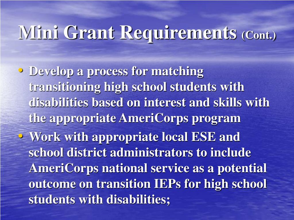 Mini Grant Requirements