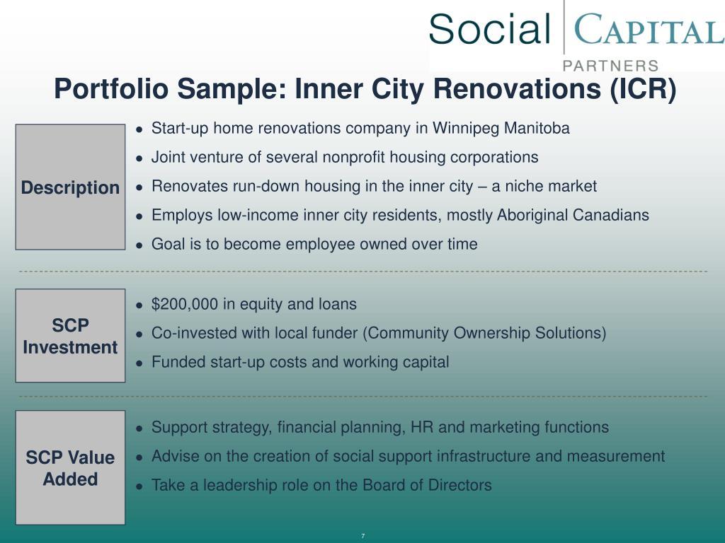 Portfolio Sample: Inner City Renovations (ICR)