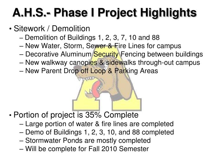 A h s phase i project highlights
