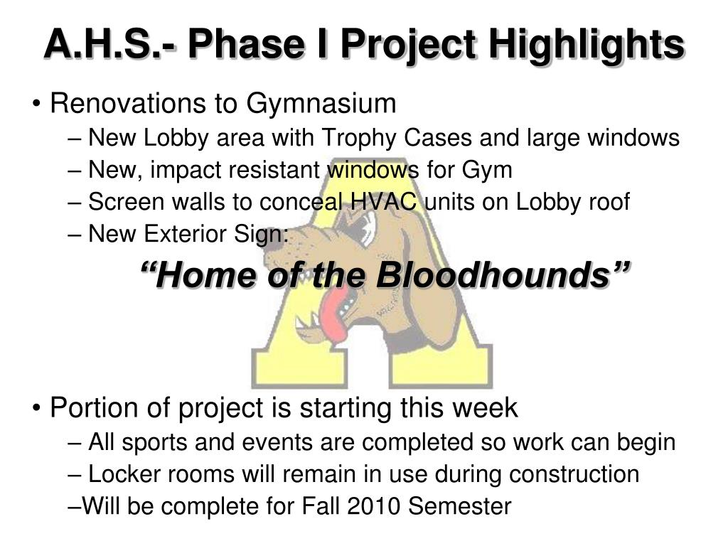 A.H.S.- Phase I Project Highlights