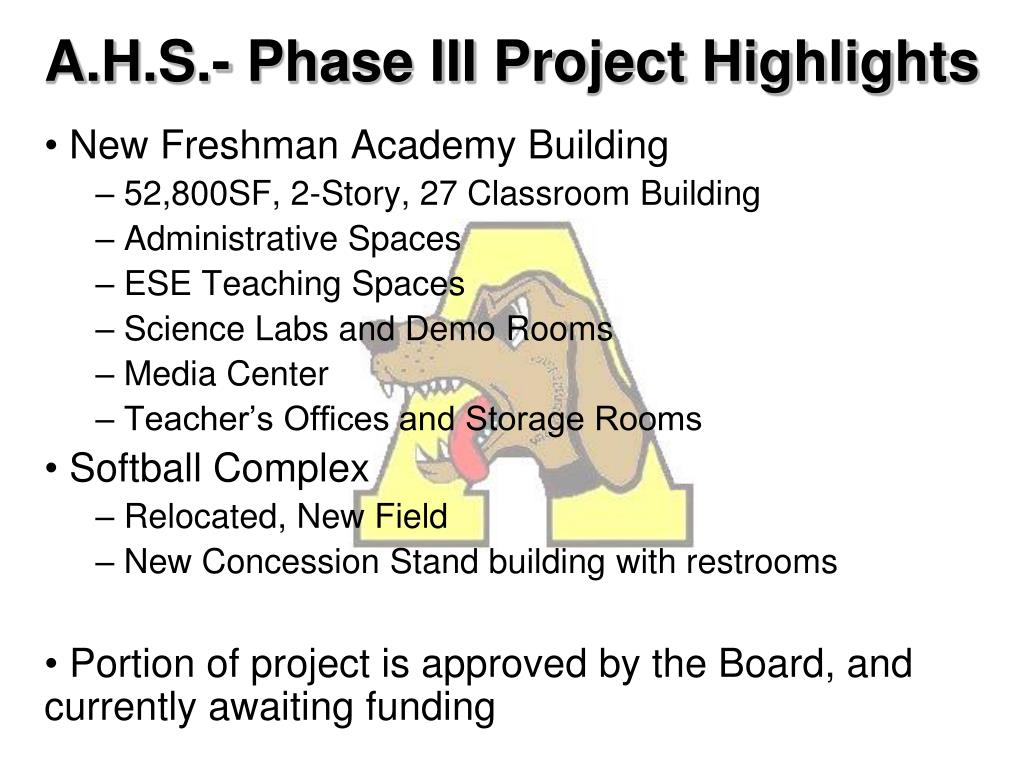 A.H.S.- Phase III Project Highlights