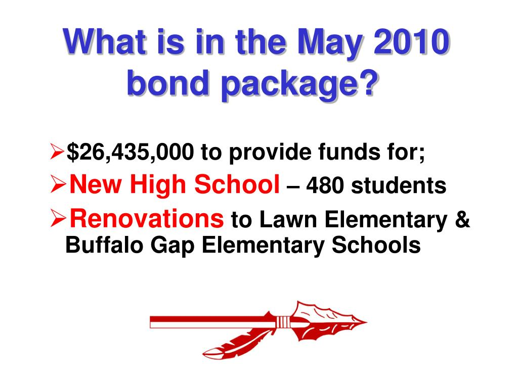 What is in the May 2010 bond package?