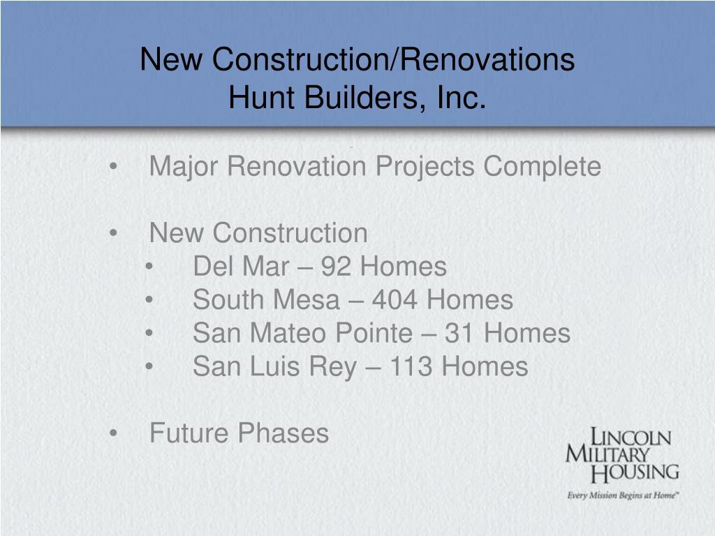 New Construction/Renovations