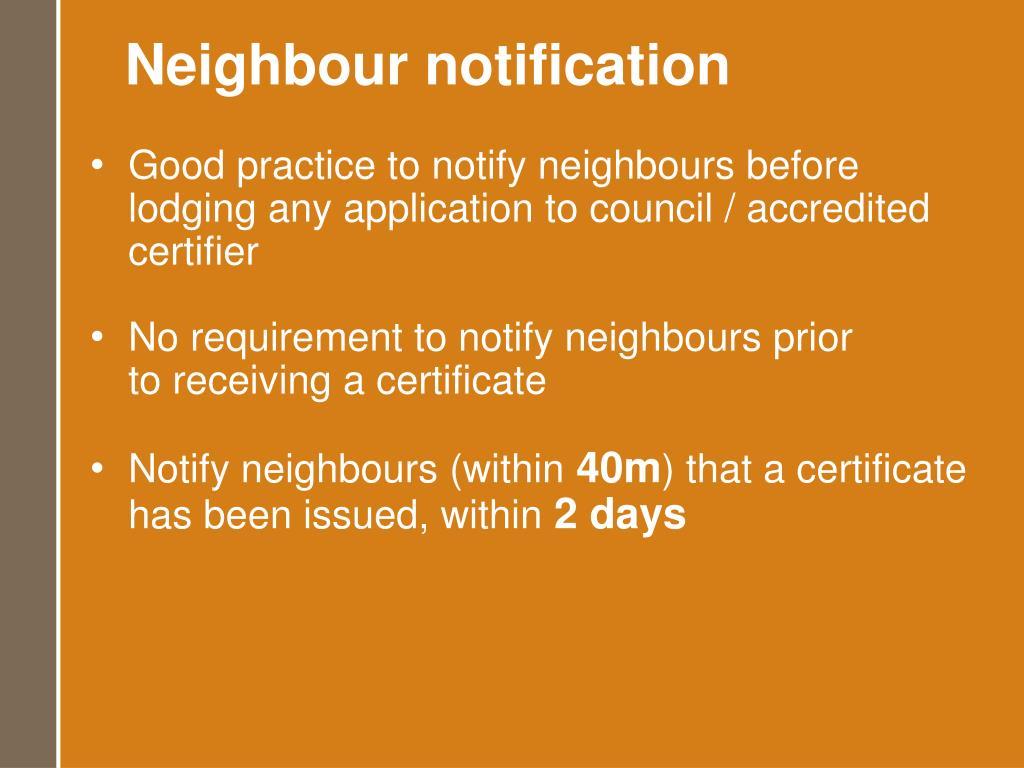 Neighbour notification