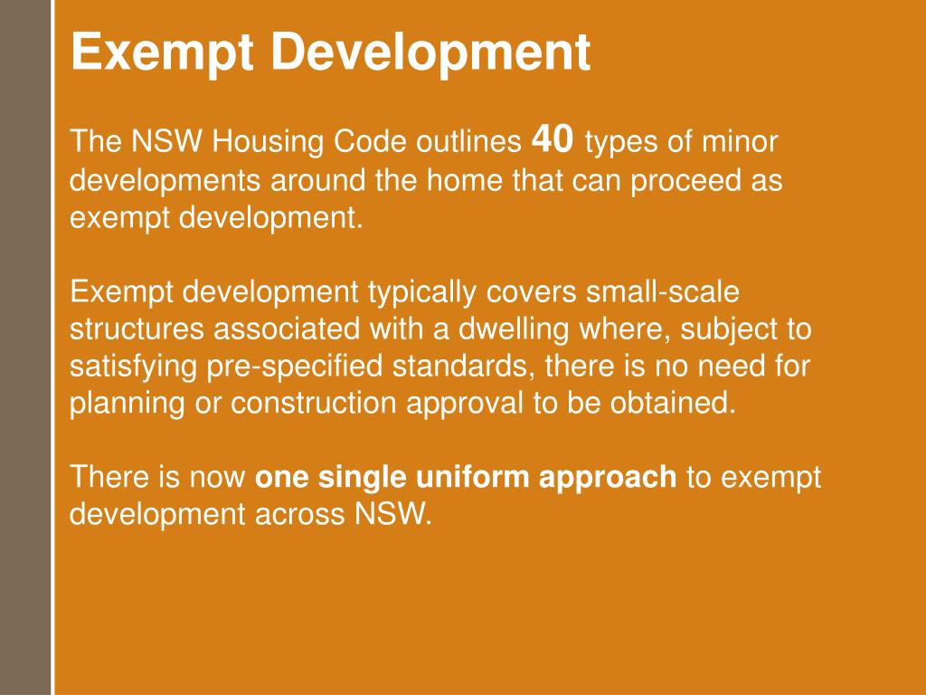 Exempt Development