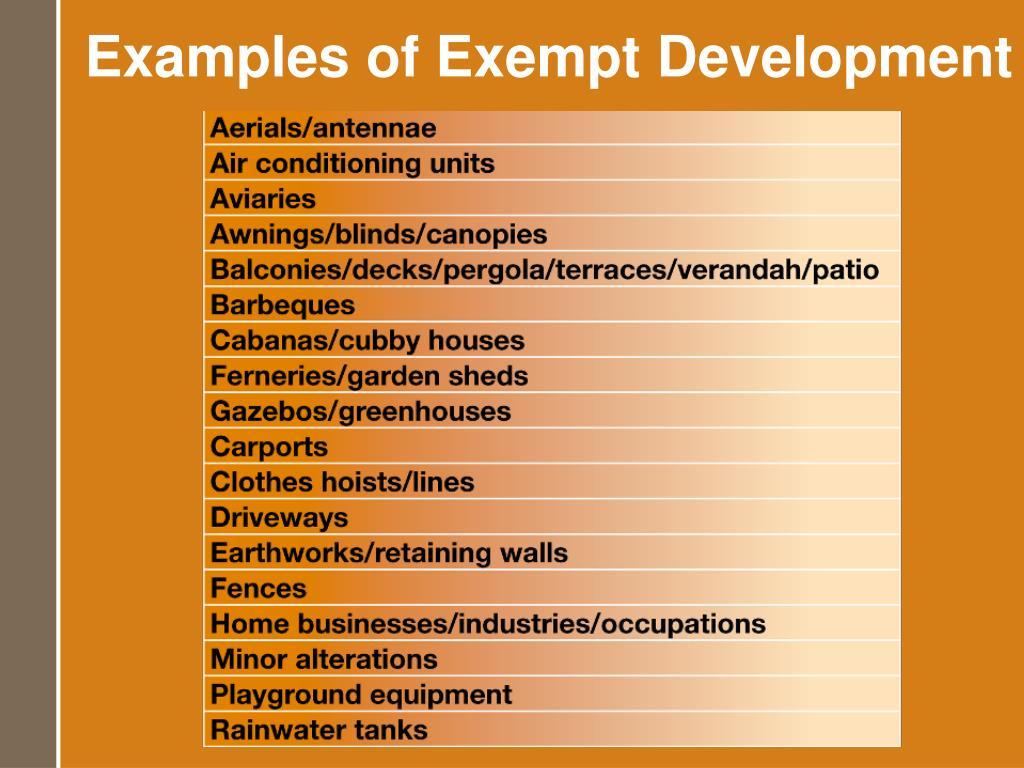 Examples of Exempt Development