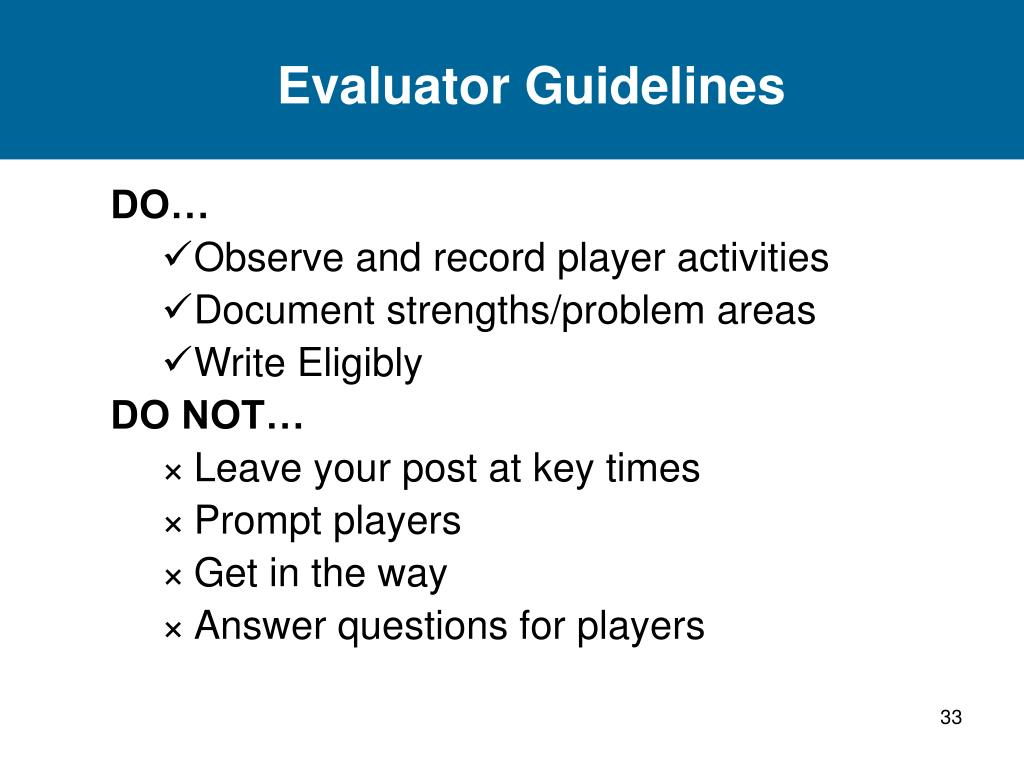Evaluator Guidelines