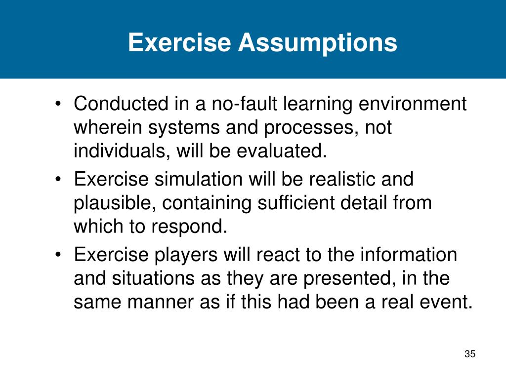 Exercise Assumptions